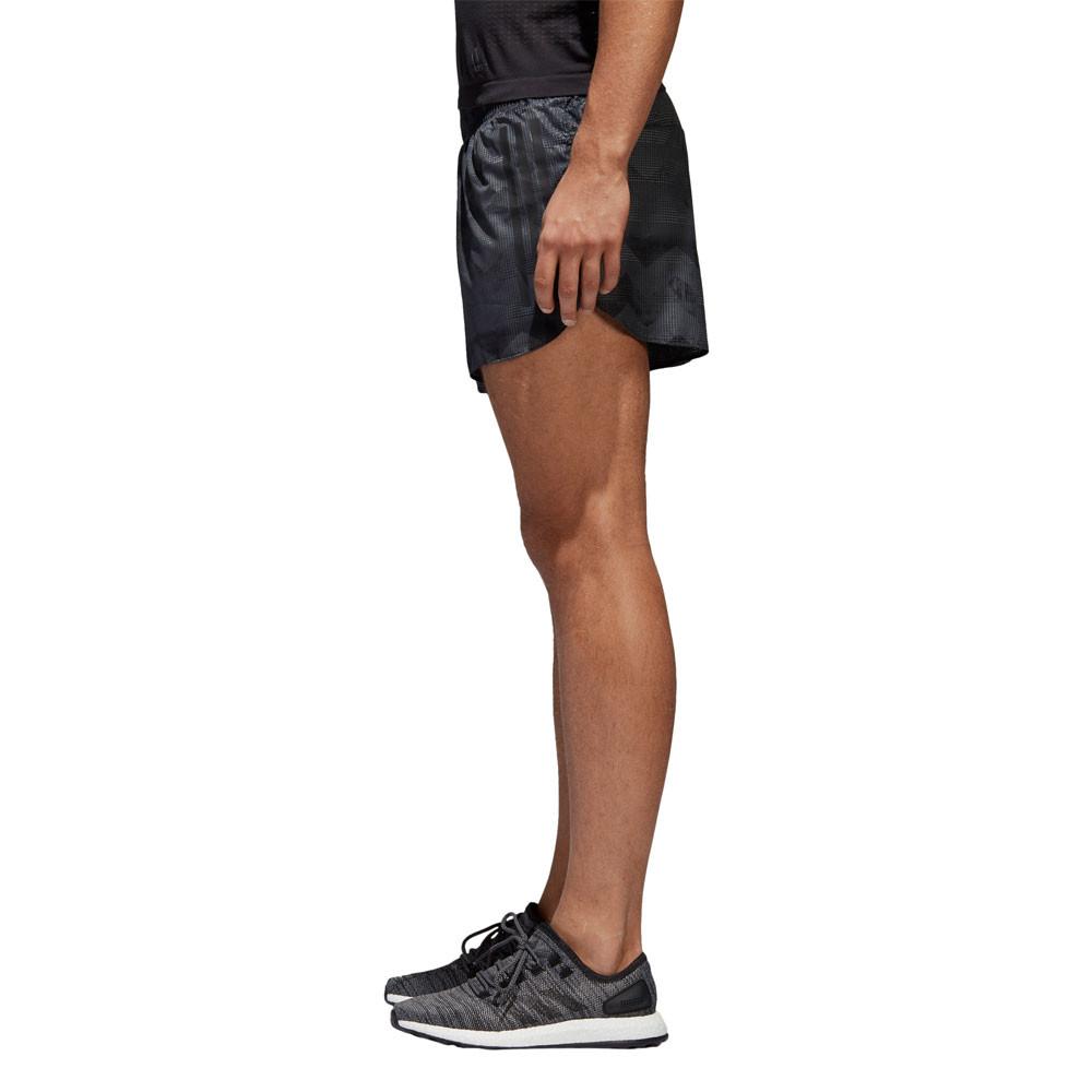 Adidas Hombre Adizero Split Pantalones Cortos Fondo Negro Gris Deporte  Gimnasio 1069993e6654