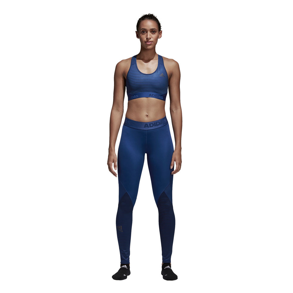 adidas damen alphaskin sport lang tight blau jogginghose funktionshose hose ebay. Black Bedroom Furniture Sets. Home Design Ideas