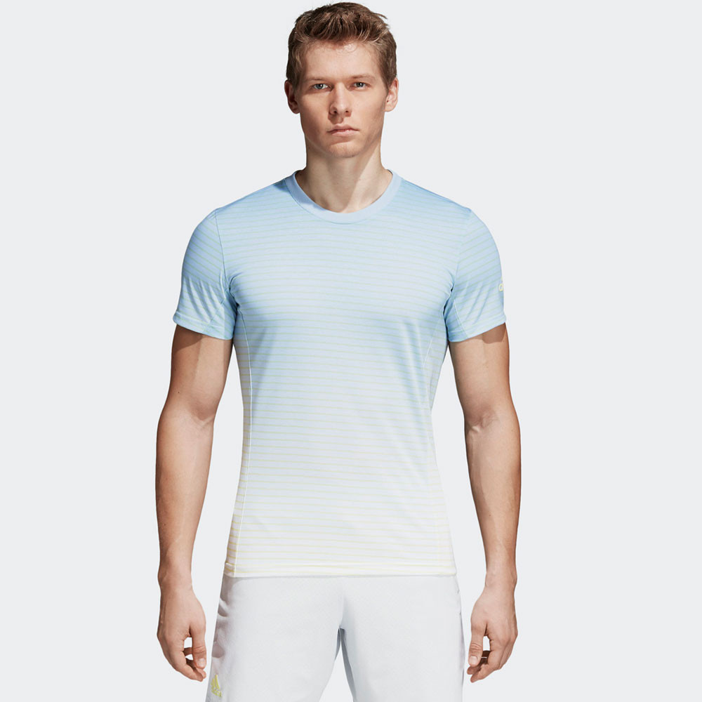 adidas herren melbourne gestreift t shirt top blau wei sport tennisshirt ebay. Black Bedroom Furniture Sets. Home Design Ideas