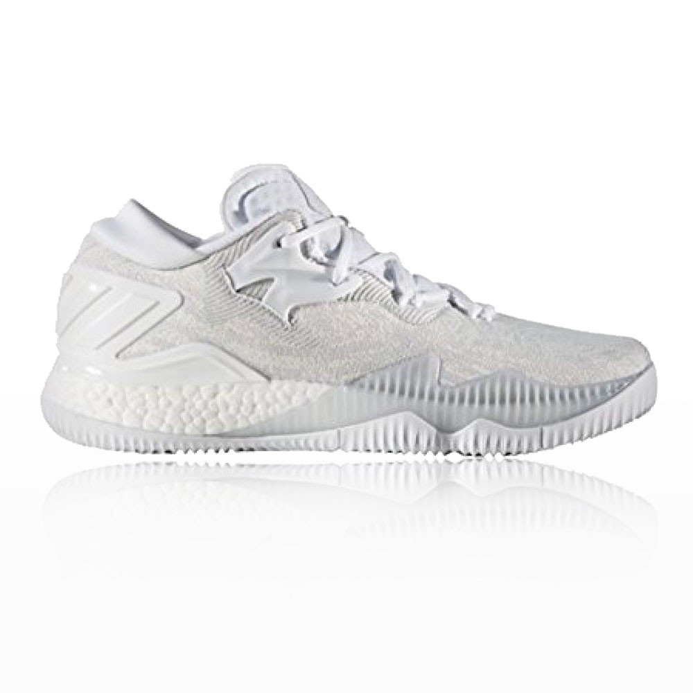 0cefe2d6521f adidas Mens Crazylight Boost Low Court Shoes White Basketball Trainers