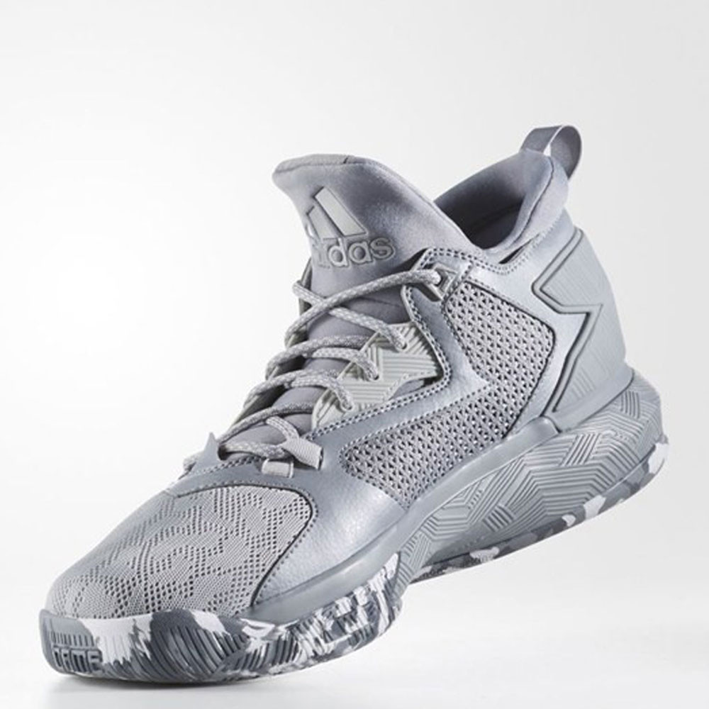 sale retailer 6204f e8681 adidas Mens D Lillard 2 Lace-Up Basketball Shoes Grey Sports Breathable