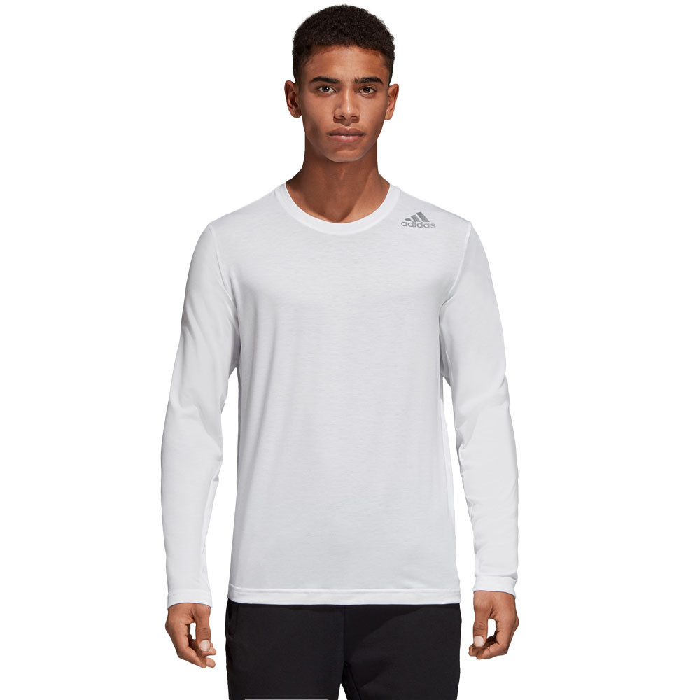 e09e29cb22 Details about adidas Mens FreeLift Prime Long Sleeved Top White Sports Gym  Breathable