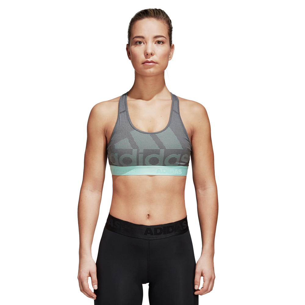 38014add58cac adidas Womens Don t Rest Alphaskin Bra Grey Sports Gym Breathable  Lightweight