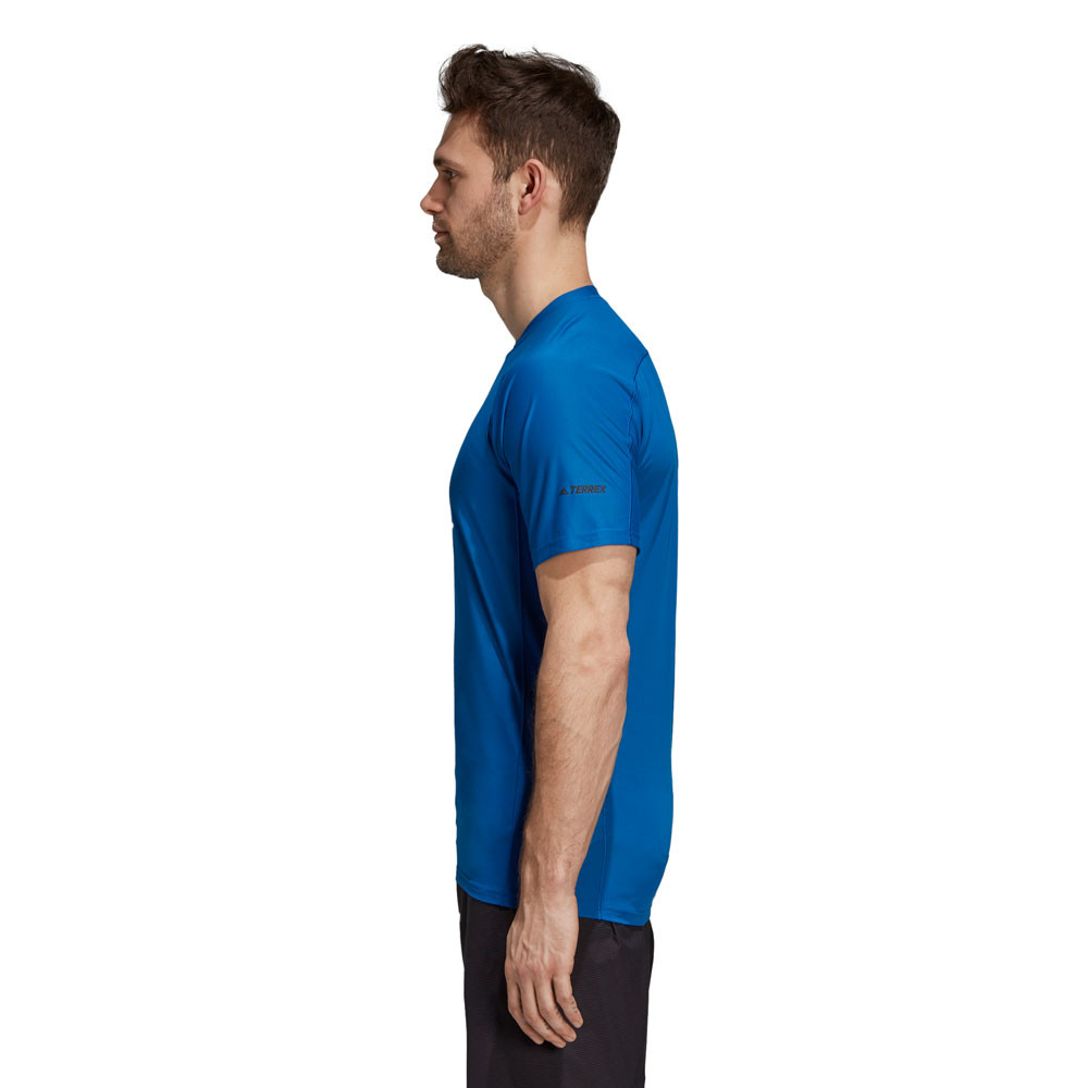 452c1aaee37 adidas Mens Agravic Parley T Shirt Tee Top Blue Sports Running Breathable