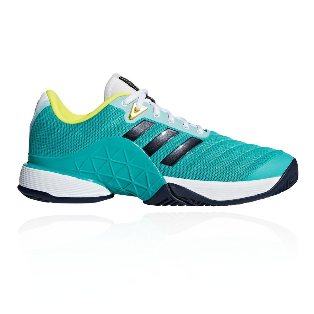 7dad27b120d adidas Mens Barricade 2018 Tennis Shoes Blue Green Sports Breathable  Lightweight