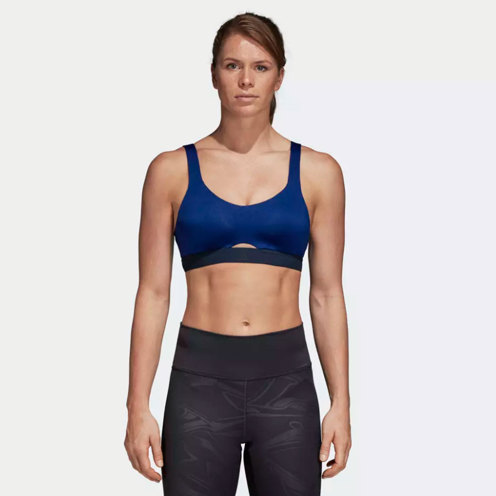 253d64161ea3d Details about adidas Womens Stronger Soft Workout Bra Blue Sports Gym  Running Breathable