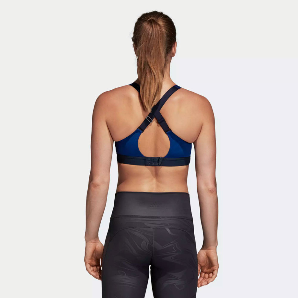 2085bb42ca1c8 adidas Womens Stronger Soft Workout Bra Blue Sports Gym Running Breathable