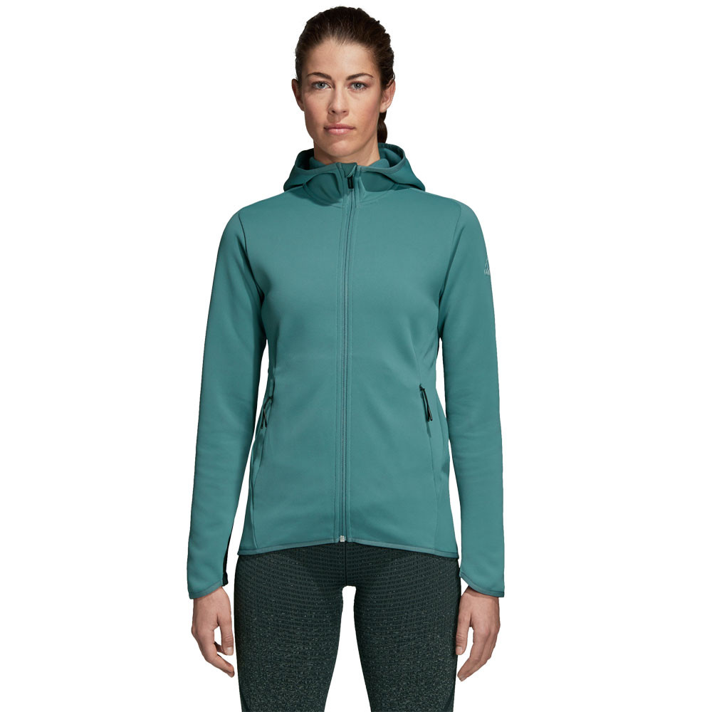 super popular e81a7 d6a38 Details about adidas Womens FreeLift Climaheat Hoodie Blue Green Sports Gym  Full Zip Warm