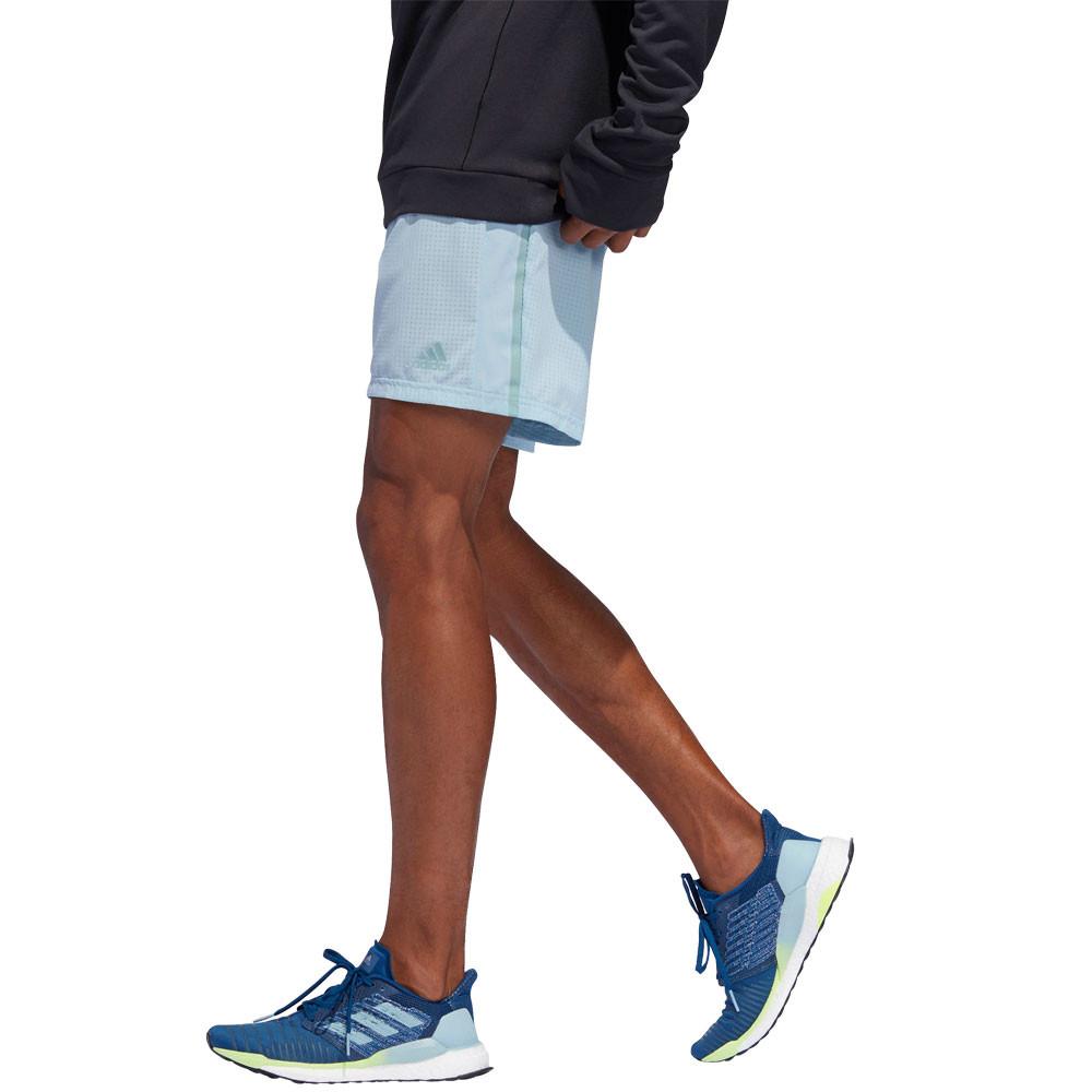 Détails sur Adidas Hommes Supernova 5 Inch Jogging Short Bleu Sport Réfléchissant Zip Pocket