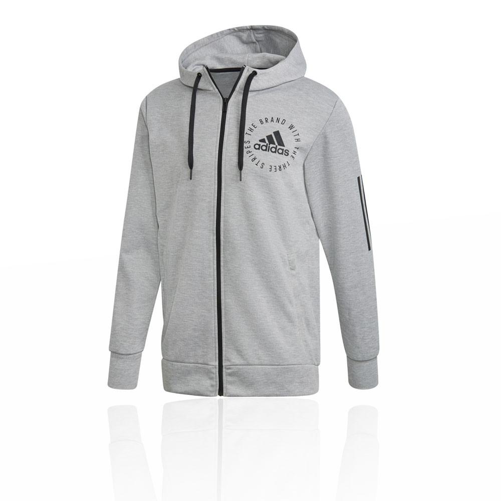 Details zu adidas Herren Sport ID Fullzip Hoodie Kapuzenpullover Grau Gym Outdoor Wandern