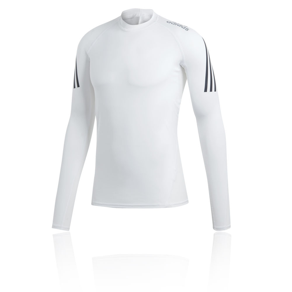 b11ae04f3 adidas Mens AlphaSkin Sport Long Sleeve Running Top White Sports Breathable