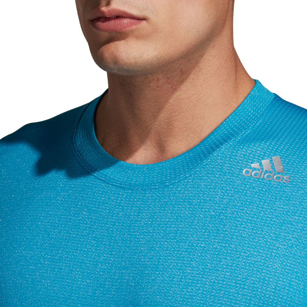 b78ac2d92fa6d2 adidas Mens FreeLift 360 Fitted Climachill T Shirt Tee Top Blue Sports Gym
