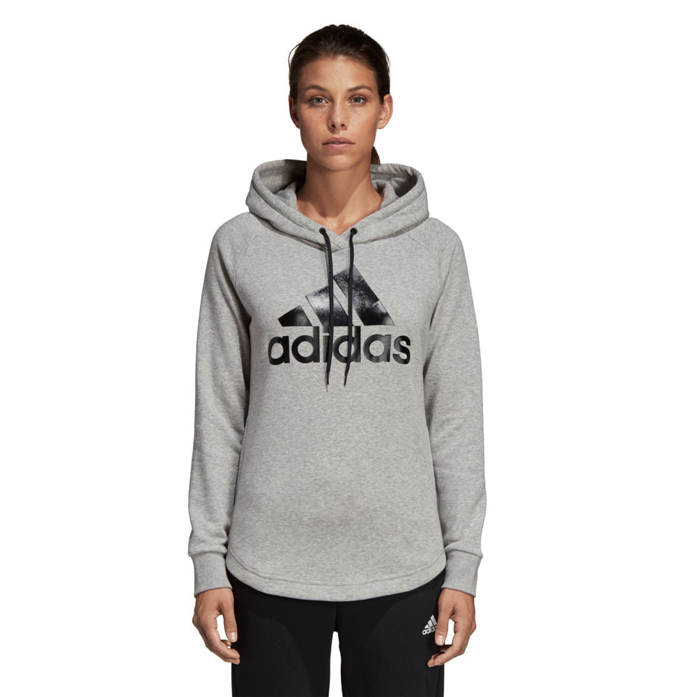 d857989fe4 Details about adidas Womens Must Haves Badge of Sport Overhead Hoodie Grey  Sports Gym Outdoors