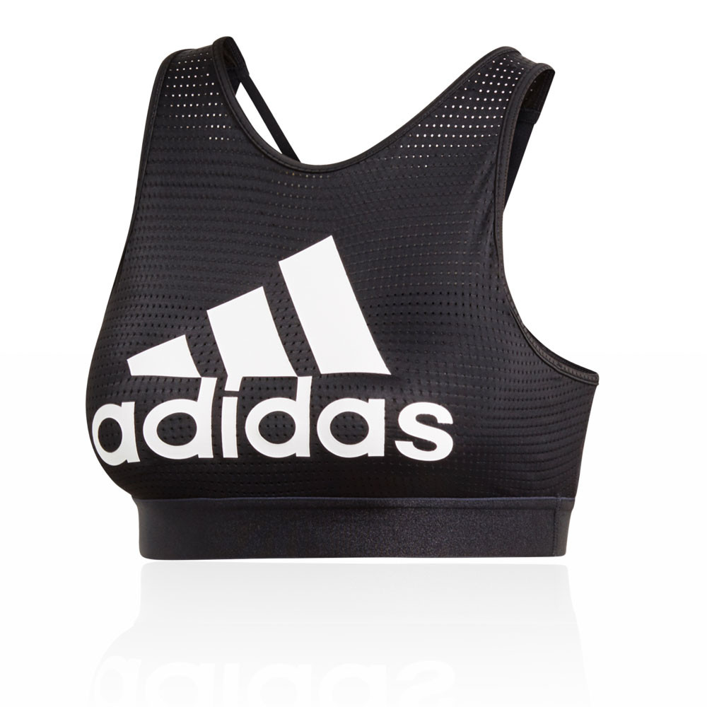 57e0a0a723f Details about adidas Womens Halter 2.0 Logo Bra Black Sports Gym Running  Breathable