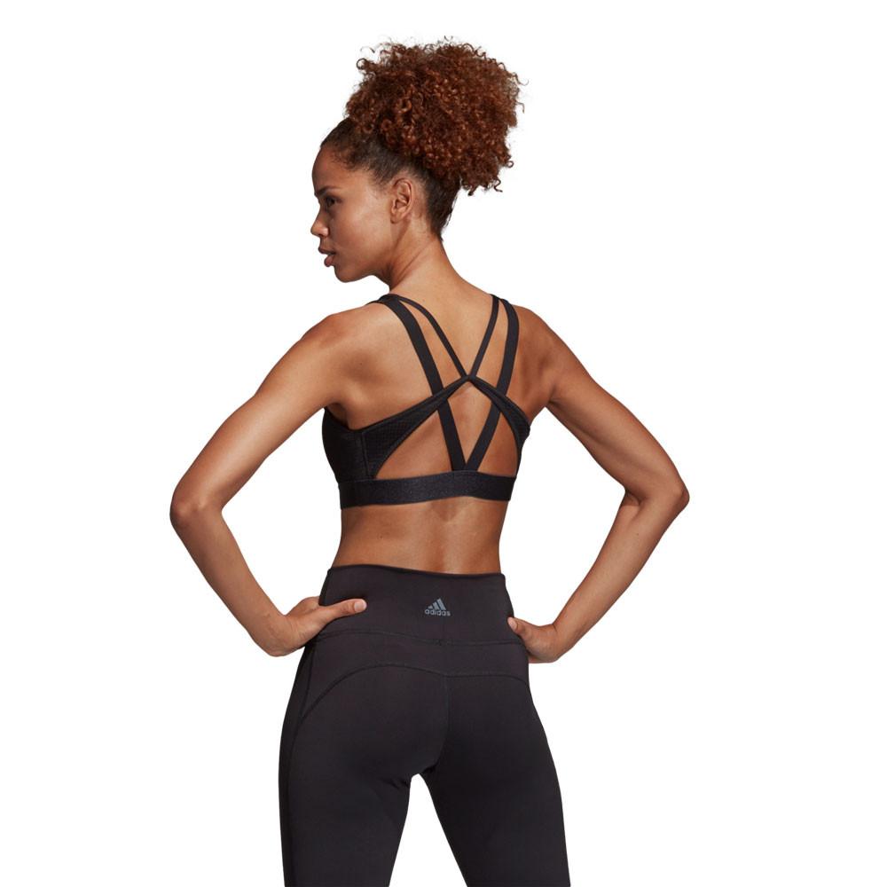 d54c68a200913 adidas Womens Halter 2.0 Logo Bra Black Sports Gym Running Breathable