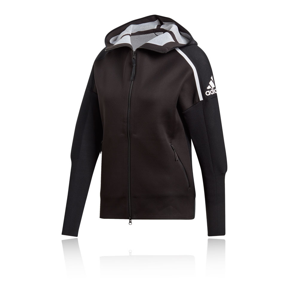 Details about adidas Womens Z.N.E. Hybrid Primeknit Hoodie Black Sports Gym Full Zip Hooded