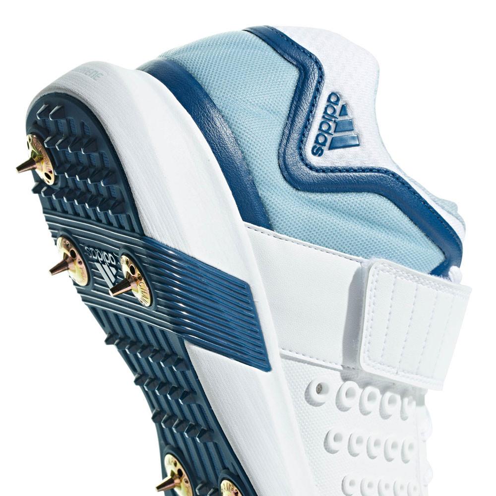 Dettagli su adidas Uomo Vector Scarpe Da Cricket Chiodate Altezza Media Bianco Sport Leggeri