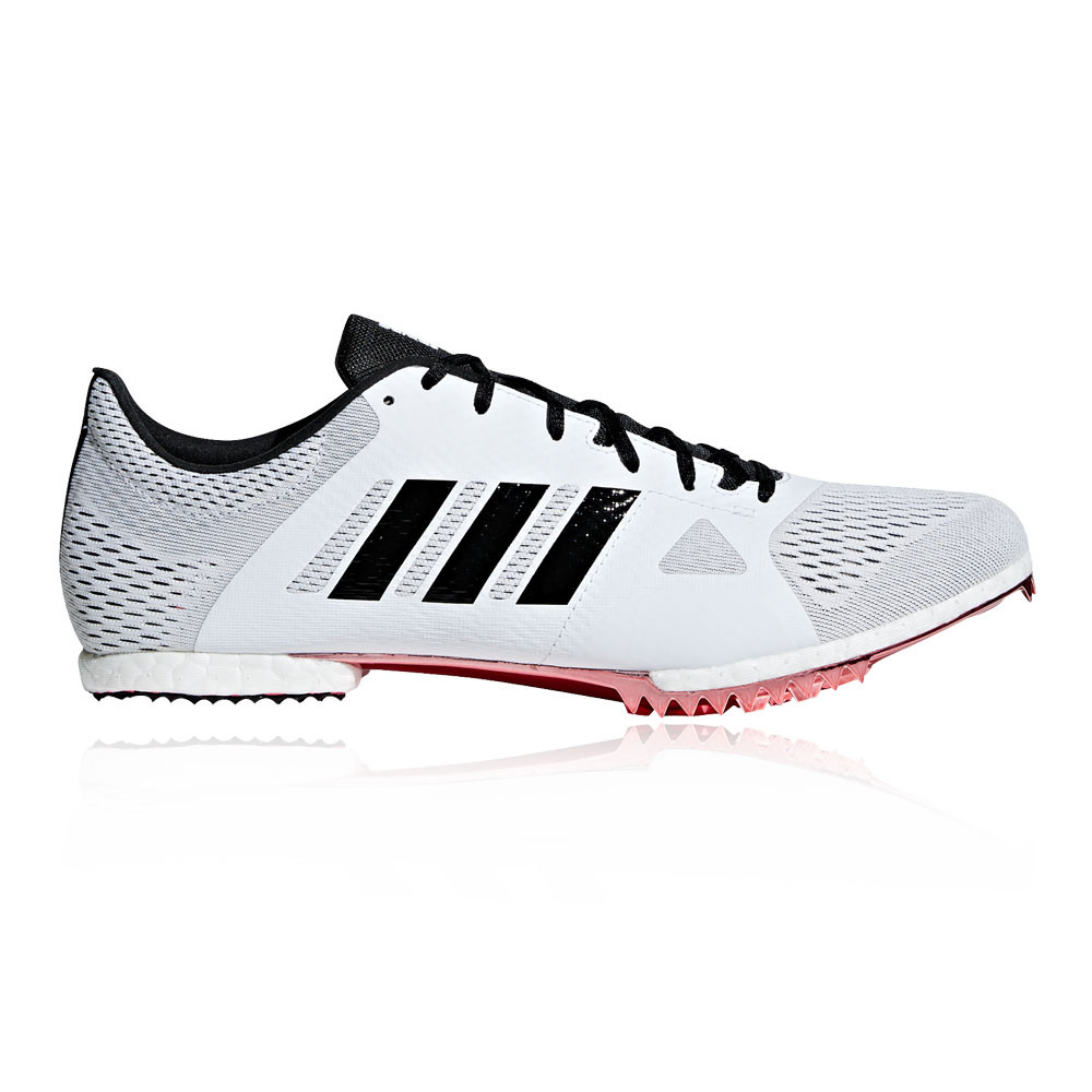 754b8392f Details about adidas Mens Adizero Middle Distance Running Spikes Traction  White Sports