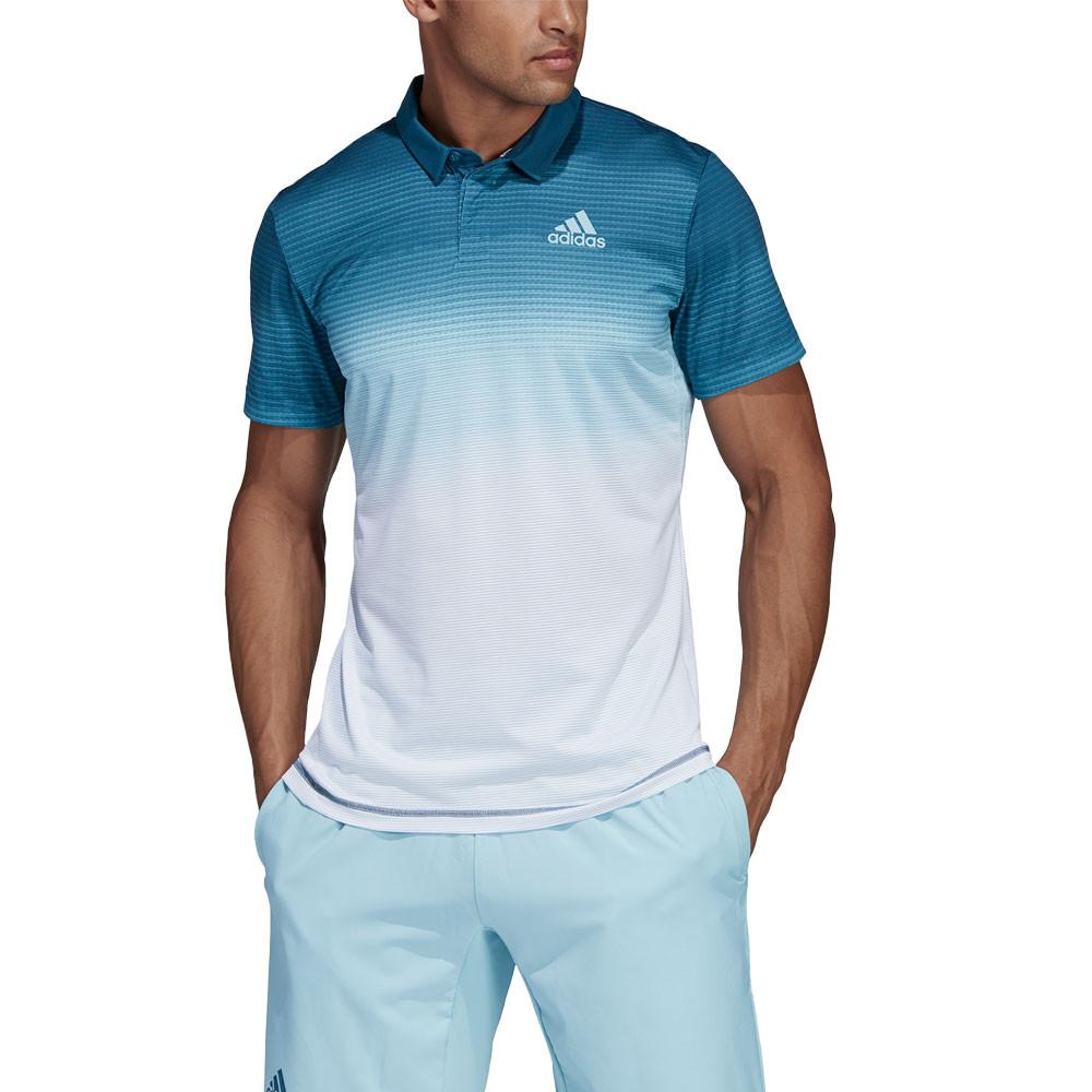 adidas Uomo Parley Polo T-Shirt Maglietta Blu Bianco Sport Tennis  Traspirante 360ac6482e8d