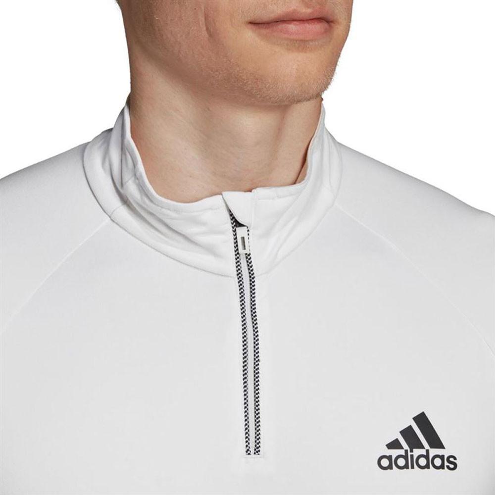 8850c9d8d1 Details about adidas Mens Club 1/4 Zip Mid-Layer Top White Sports Squash  Tennis