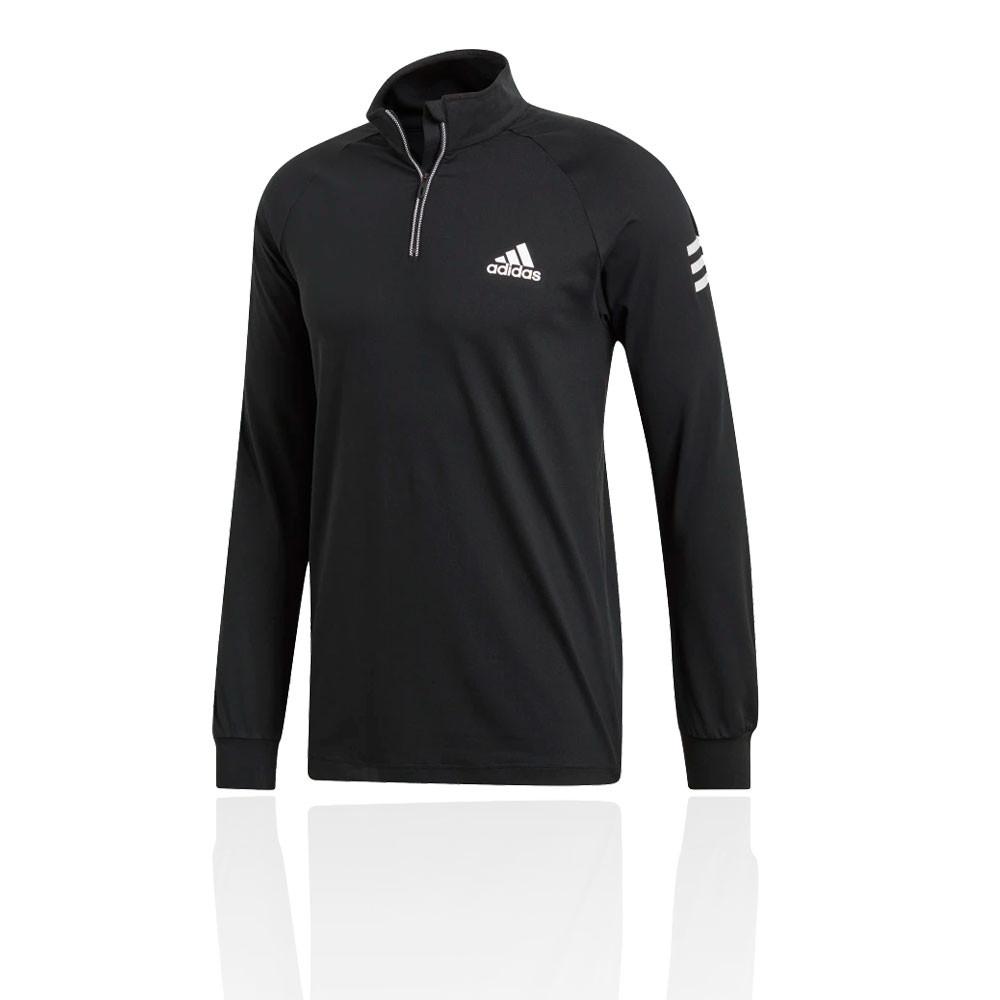 6b0a06dfdc Details about adidas Mens Club 1/4 Zip Mid-Layer Top Black Sports Squash  Tennis Half