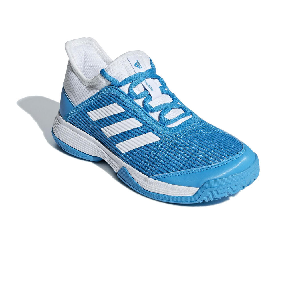 adidas Boys adizero Club Junior Tennis Shoe Blue White Sports Breathable 58b7ee25b7
