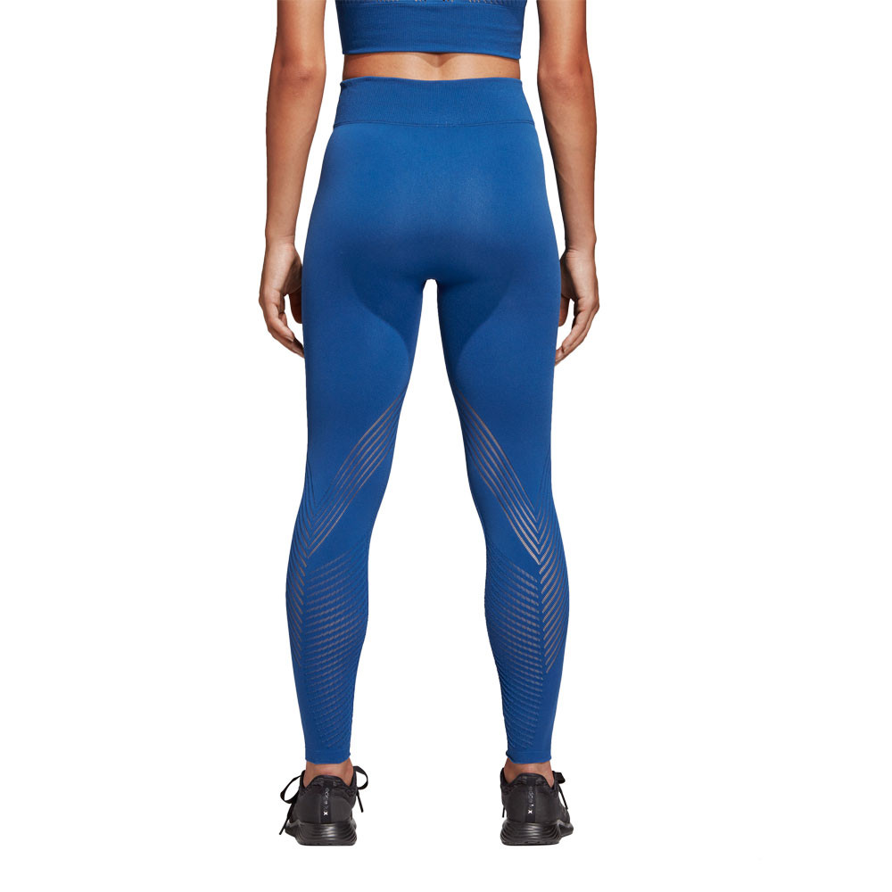 9d2c8f2ded Details about adidas Womens Warp Knit High-Rise 7/8 Tights Bottoms Pants  Trousers Blue Sports