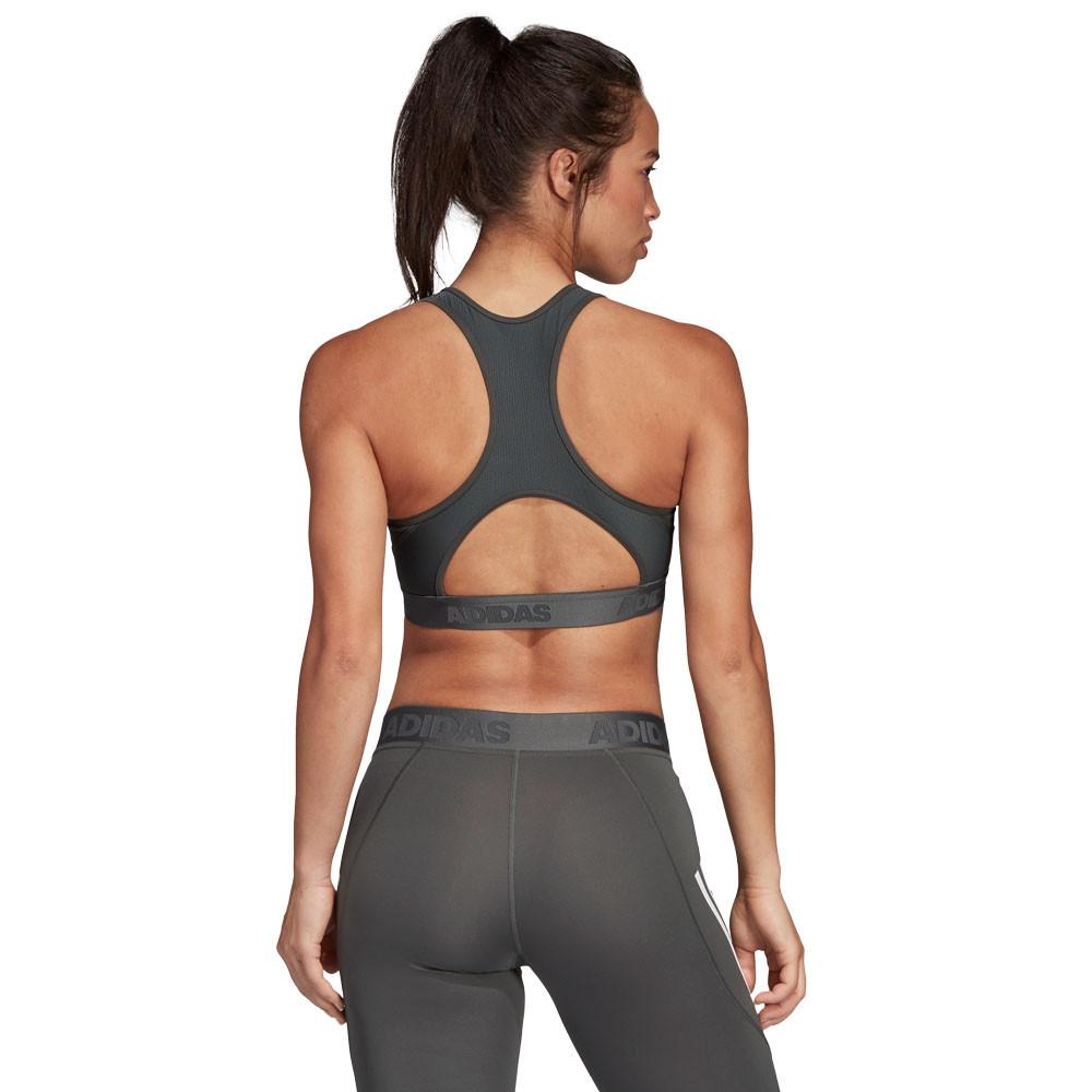 18bc2563a9be1 adidas Womens Don t Rest Alphaskin Sport Padded 3-Stripes Bra Grey Sports