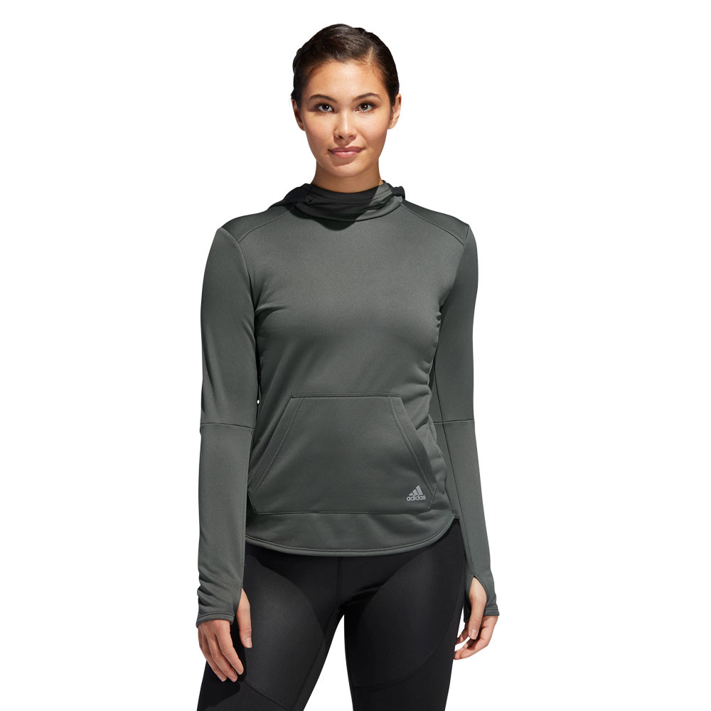 cf4e17ea98 Details about adidas Womens Own The Run Hoodie Green Sports Running Hooded  Breathable
