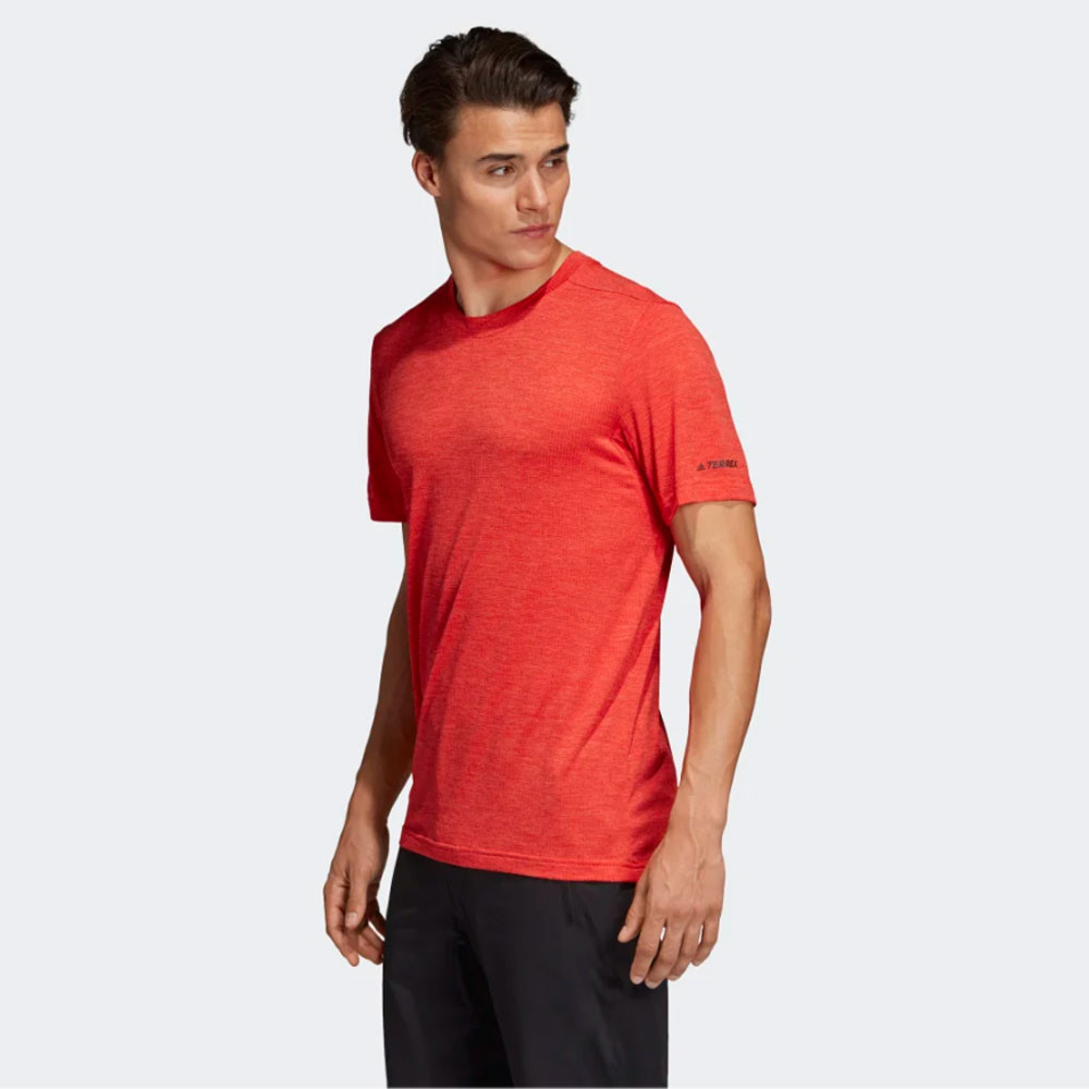 deb155bcf5 Details about adidas Mens Tivid Tee Orange Sports Gym Running Breathable  Reflective