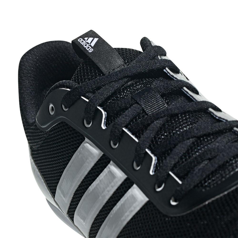 Dettagli su adidas Uomo Distancestar Corsa Scarpe con Tacchetti Traction Nero Bianco Sport