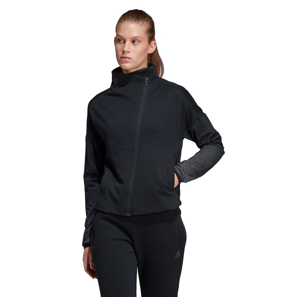 Details about adidas Womens Heartracer Summer Jacket Top Black Sports Gym Full Zip Breathable