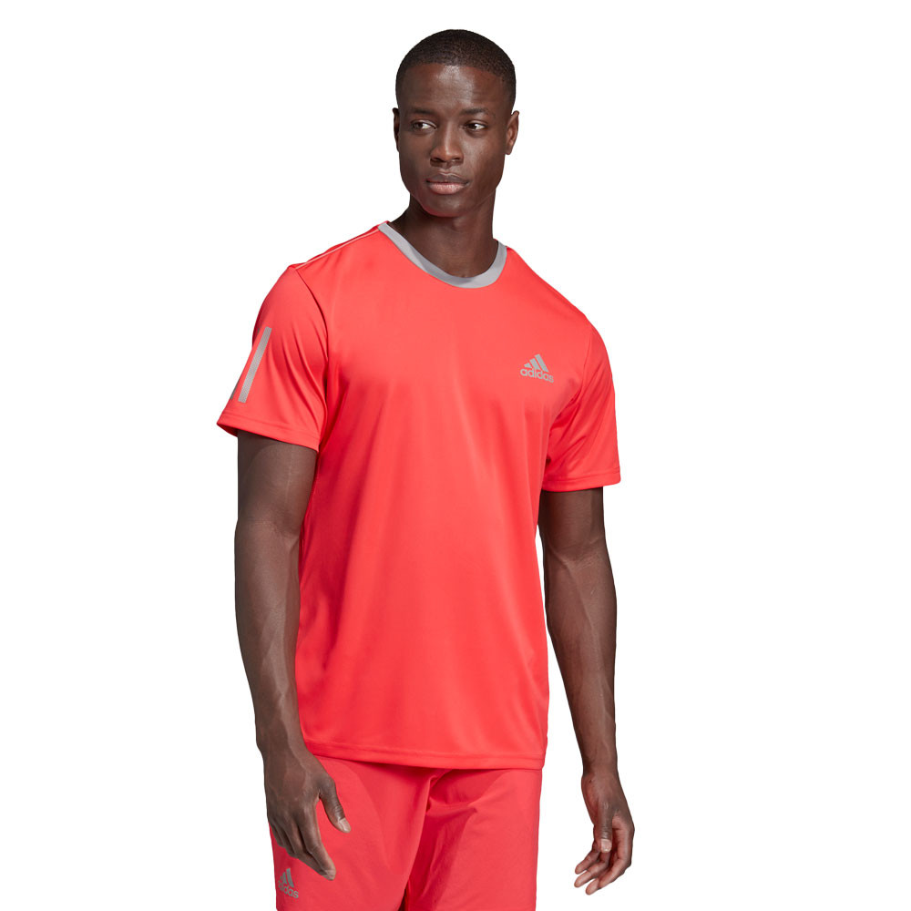 Details about adidas Mens Club 3 Stripes T Shirt Tee Top Red Sports Tennis Breathable