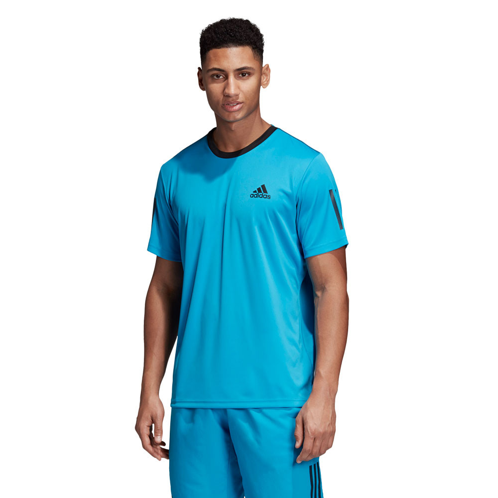 Details about adidas Mens Club 3 Stripes T Shirt Tee Top Blue Sports Tennis Breathable