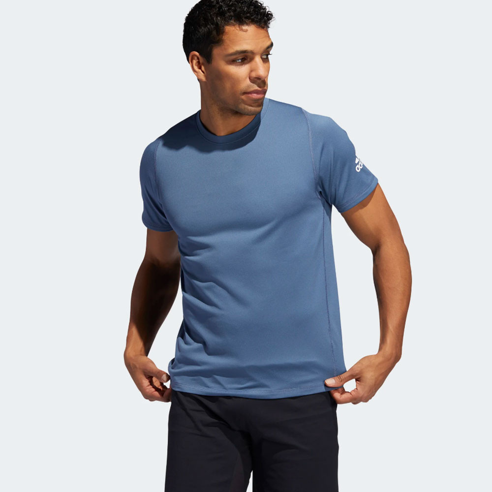 Details about adidas Mens FreeLift Sport Ultimate Solid T Shirt Tee Top Blue Sports Gym