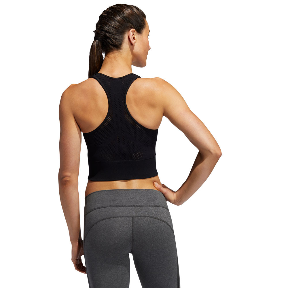 Détails sur adidas Femmes Warp Tricot Haut Court Débardeur Noir Sport Gym Respirant Léger