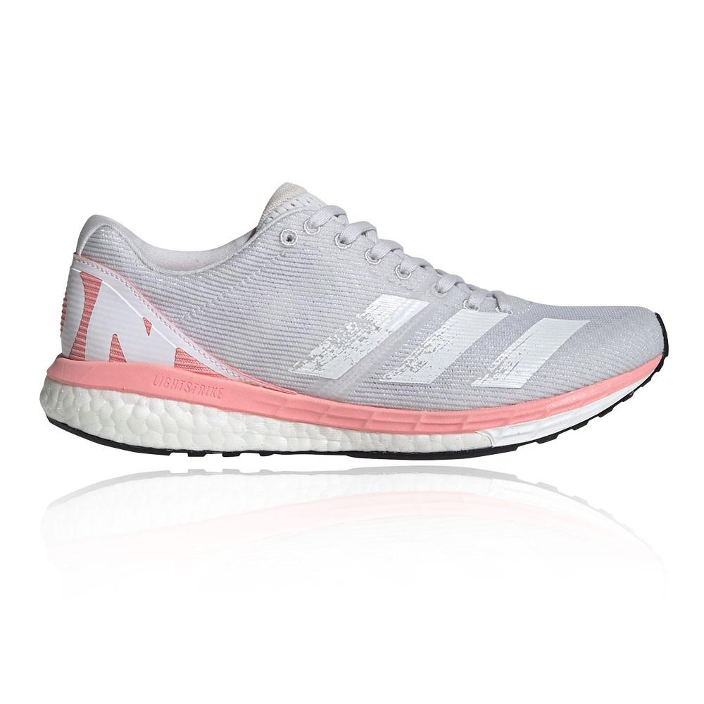 Detalles de adidas Mujer Adizero Boston 8 Correr Zapatos Zapatillas - Rosa  Blanco