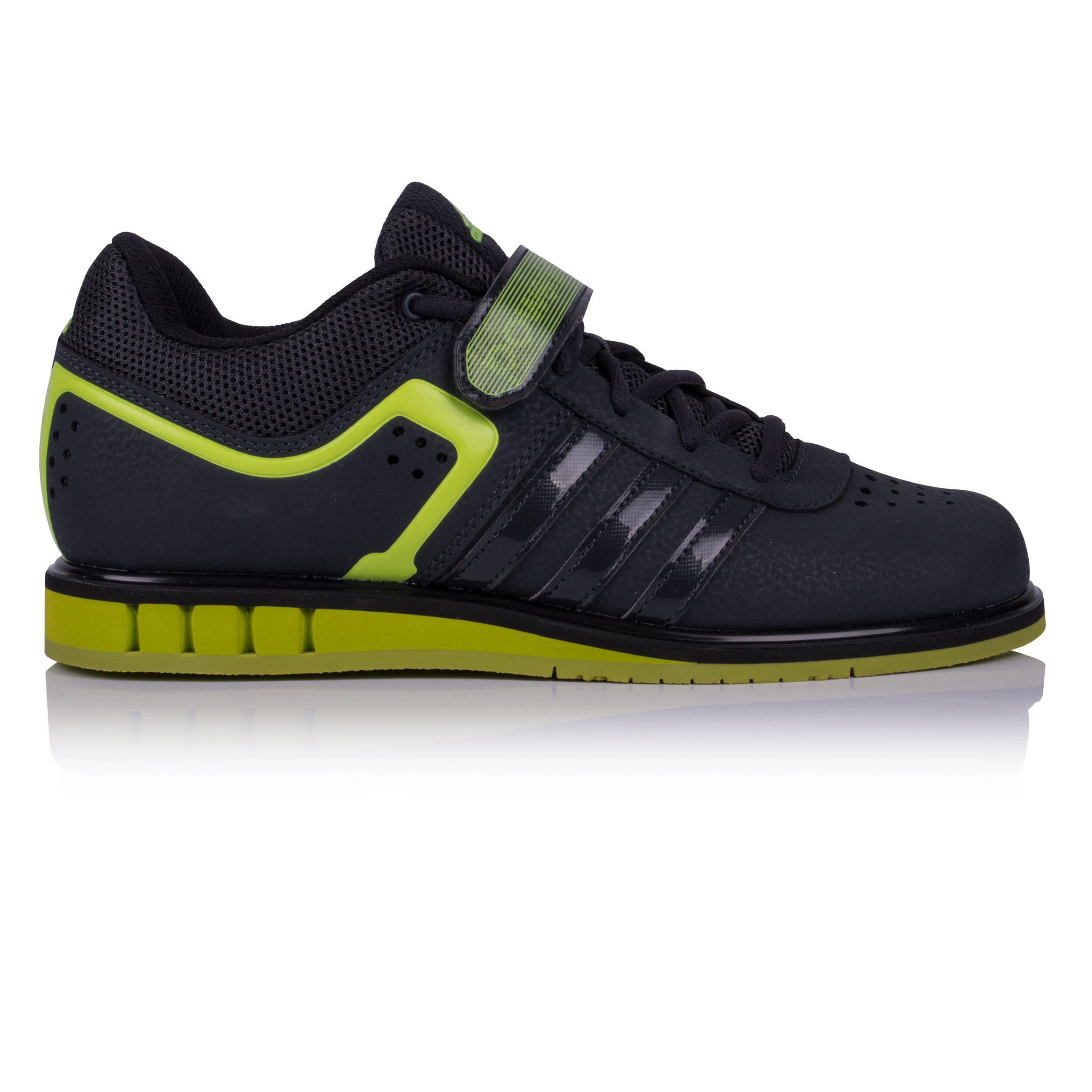 3293b078c50 Adidas Hommes Powerlift 2.0 Chaussures De Haltérophilie Noir Vert Sport Gym