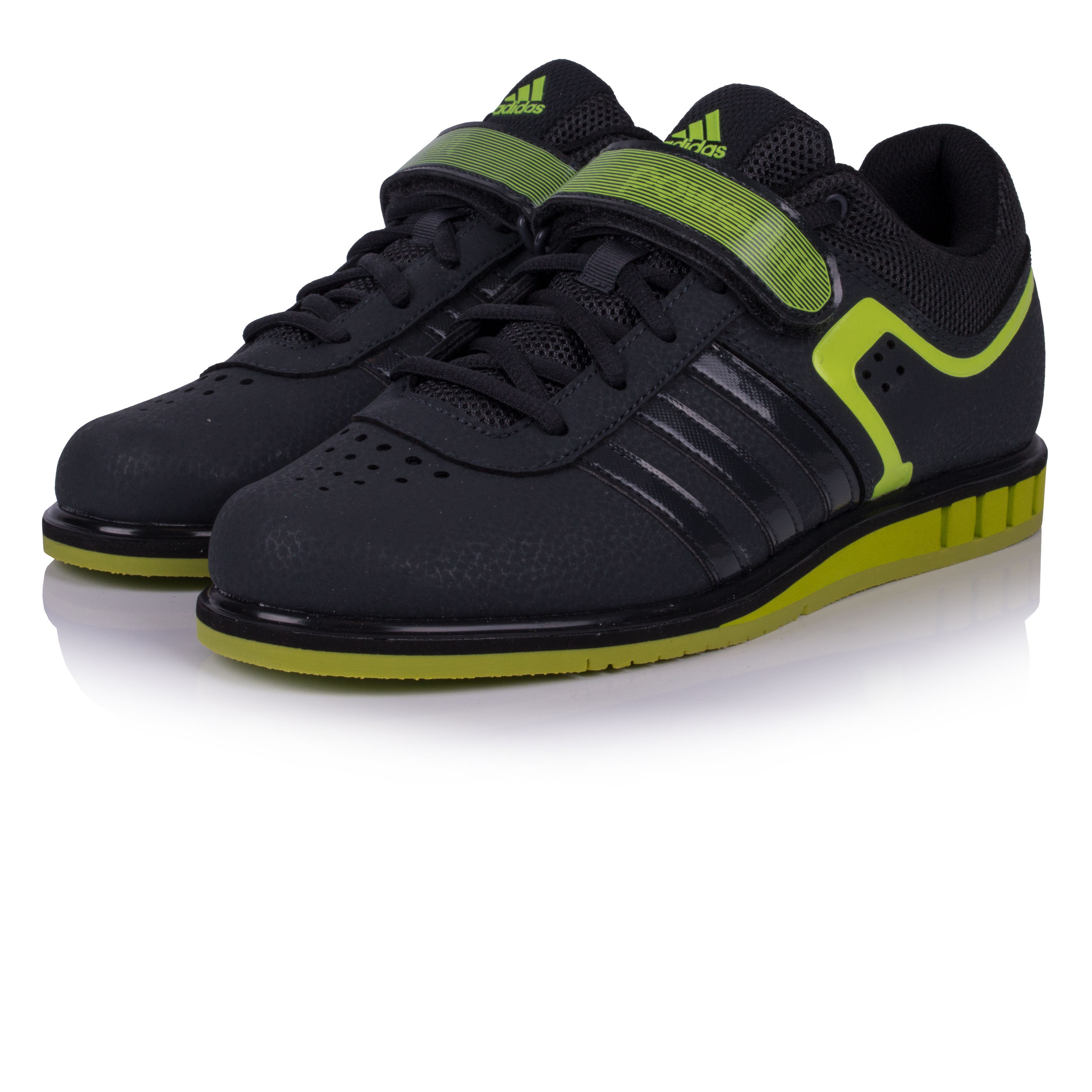 super popular 3fbc2 27fc7 Adidas Hommes Powerlift 2.0 Chaussures De Haltérophilie Noir Vert Sport Gym