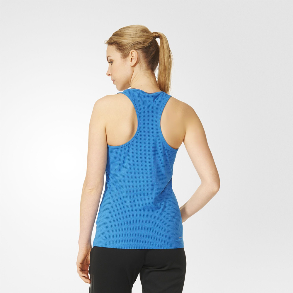 adidas aeroknit womens blue climacool gym training sports vest tank top ebay. Black Bedroom Furniture Sets. Home Design Ideas