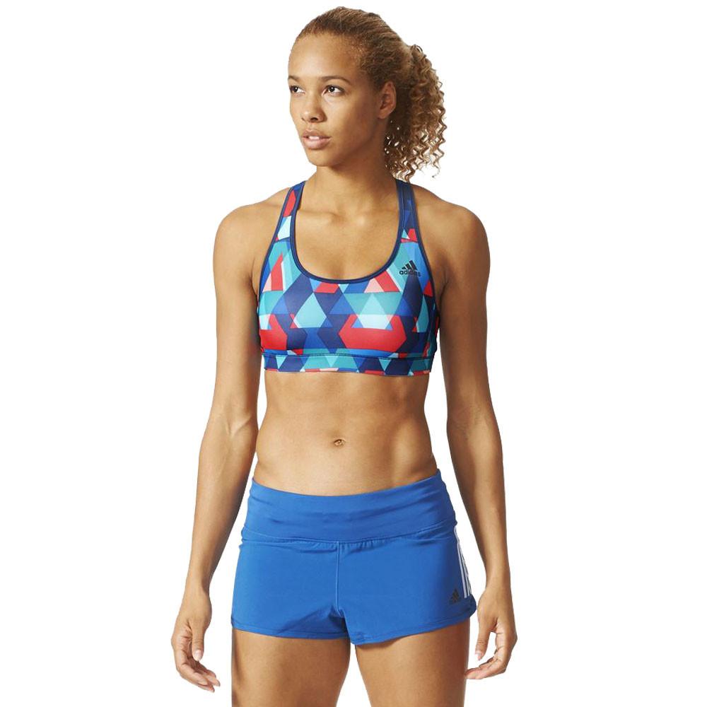 adidas Triax Womens Black Red Racerback Running Training Bra Support Top