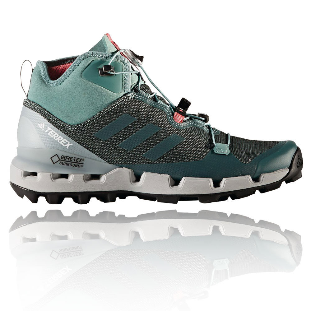 best loved 6fa9e 76ee2 Adidas Terrex Fast Mid Womens Green Waterproof Gore Tex Walking Hiking Shoes