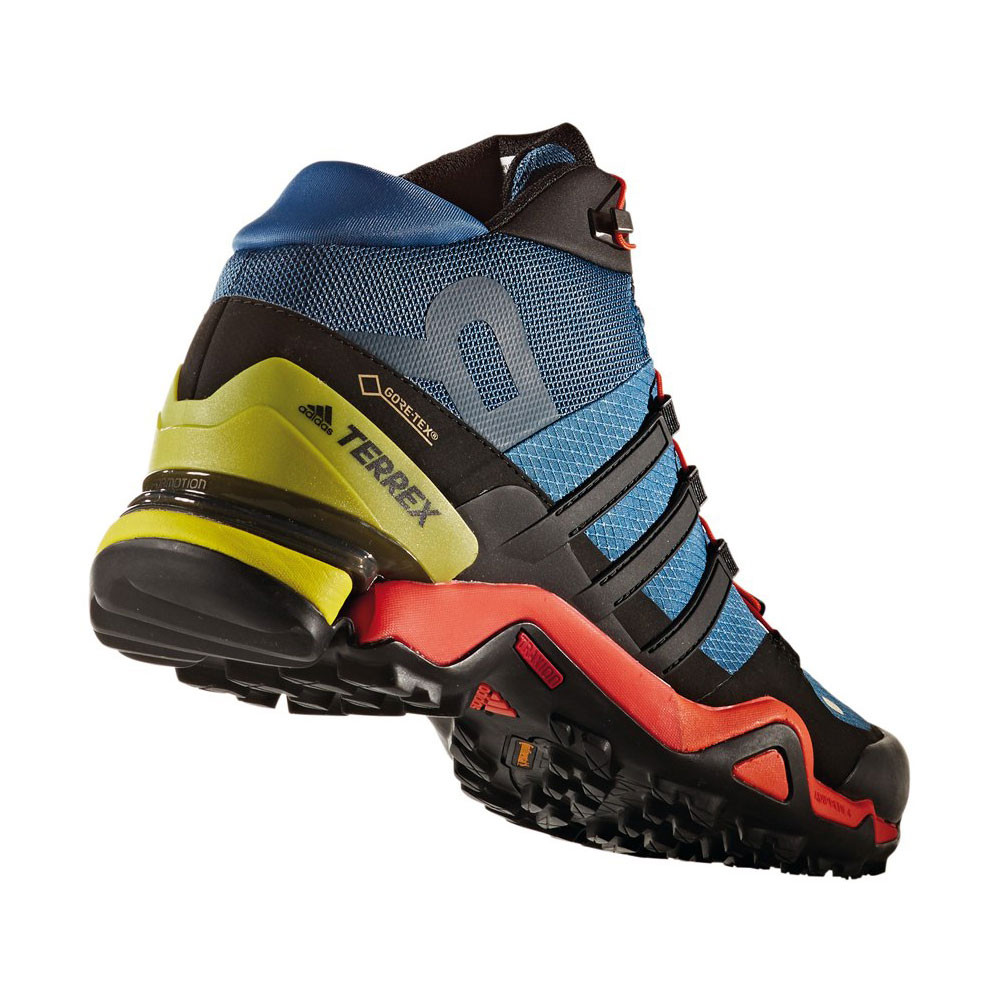 Adidas Terrex Fast R Mid Mens Blue Gore Tex Waterproof Walking Boots ... 7d38f1edd