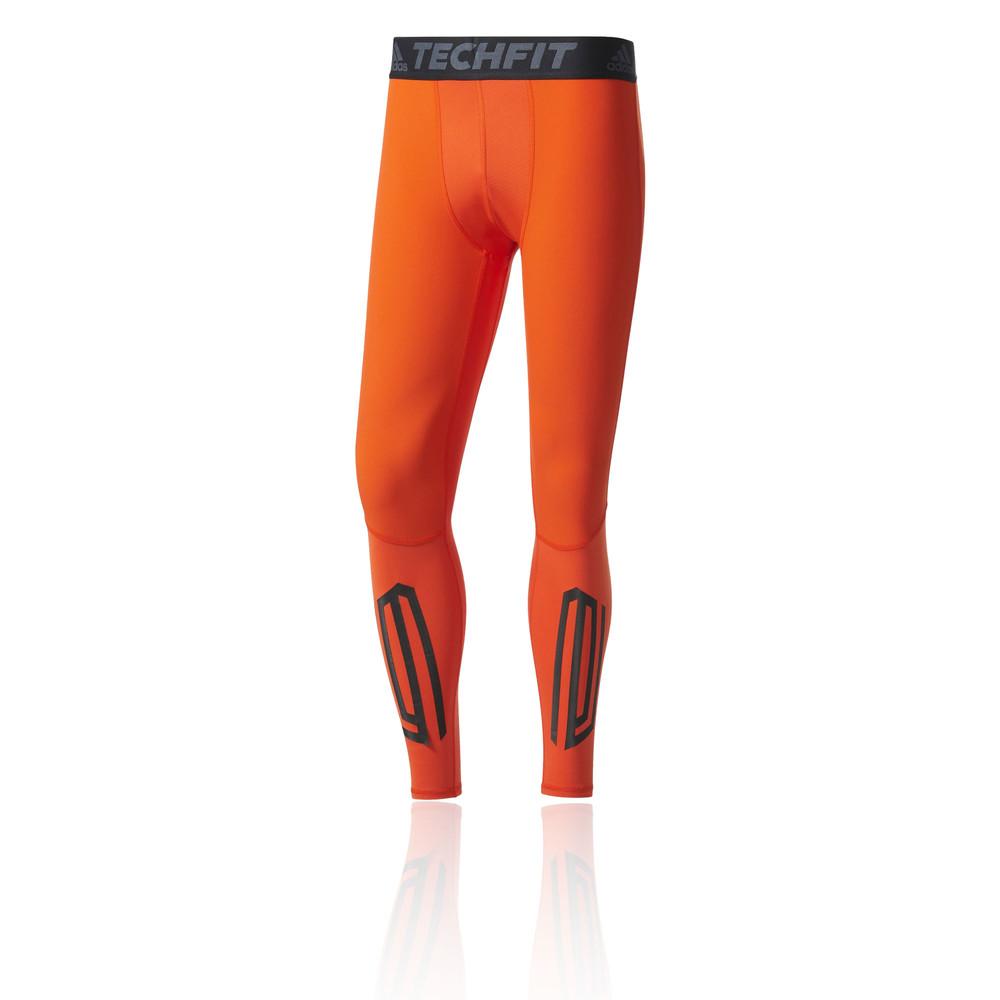 Adidas Techfit Tough Hommes Orange Compression Course Leggings Collants  Caleçons 92c4d6db262