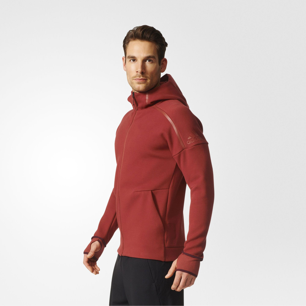 Adidas ZNE Mens Red Hoody Long Sleeve Full Zip Hoodie ...