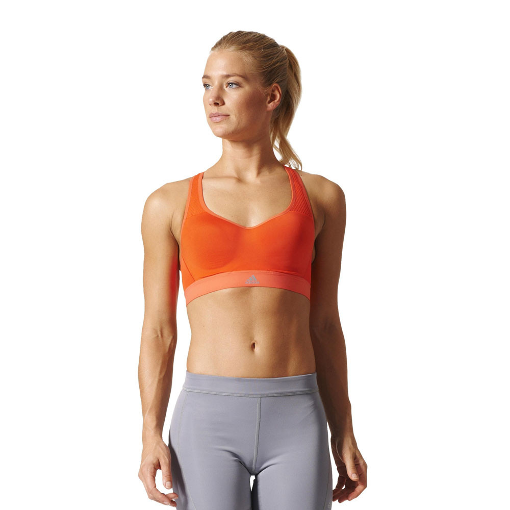 3bac286aa5 Adidas CMMTTD Womens Orange Climacool Running Sports Bra Support Top ...
