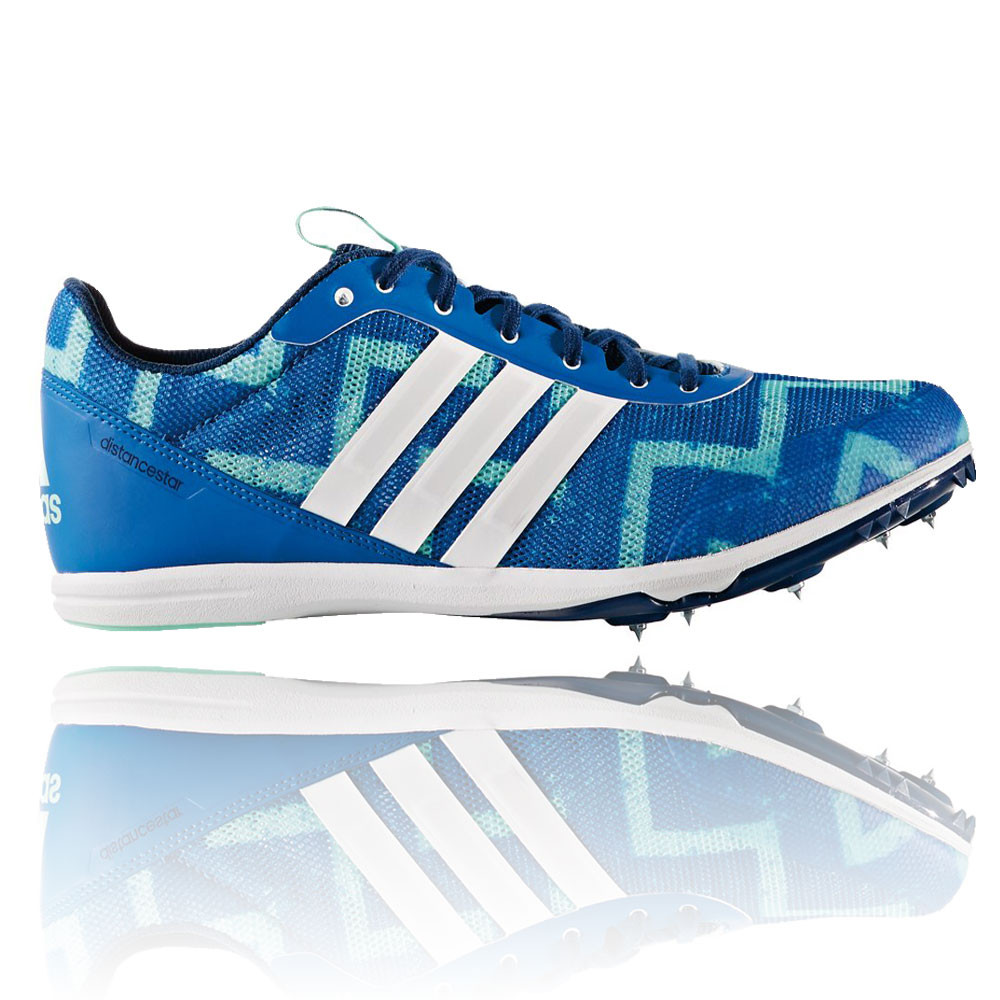 new arrivals 0d13a 8b3be Adidas Distancestar Mens Green Blue Running Sports Shoes Spikes Trainers