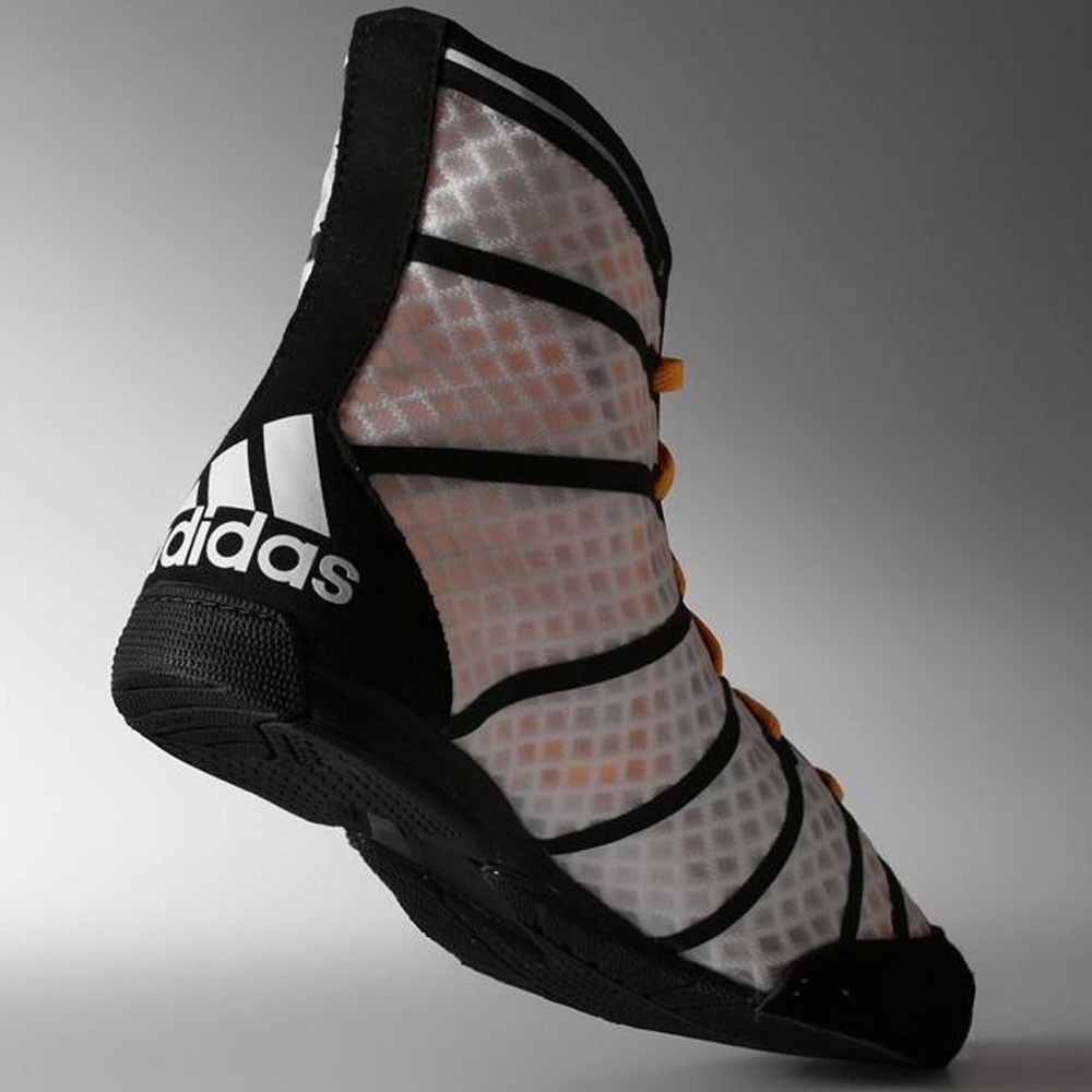 Adidas Adizero Mens White Black Boxing Sports Shoes