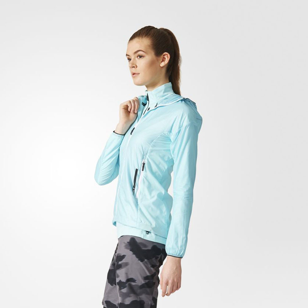 15b2d92d4a17a adidas Womens Agravic Alpha Shield Hooded Jacket Top Blue Sport Running  Outdoors