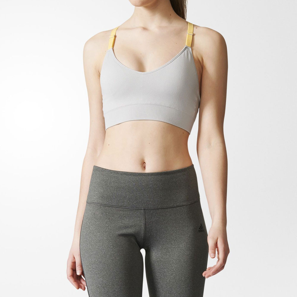 67dcffff84 Details about Adidas Womens Grey Climalite Strappy Running Sports Bra  Support Top